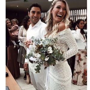 Crochet Look Maxi Dress Off White